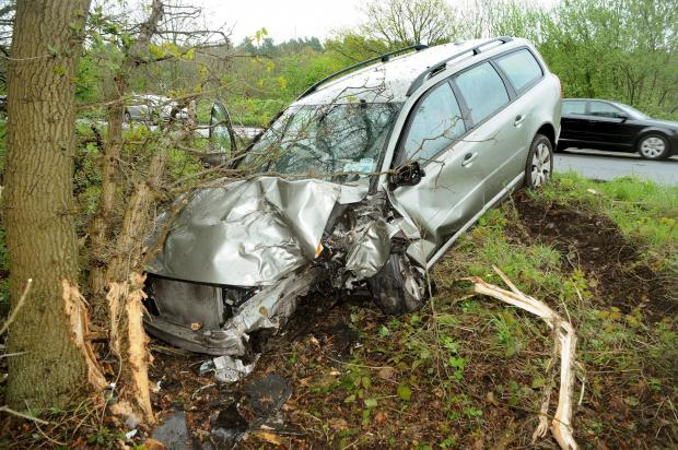 SMASH: A car which crashed on the eastbound A64 between Sand Hutton and Claxton