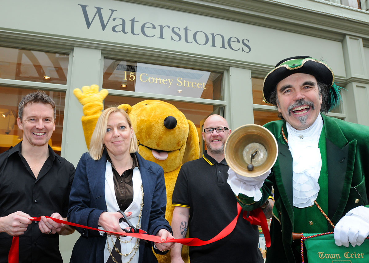 Spot the Dog and town crier Michael Wood help Waterstones open its newest shop in Coney Street