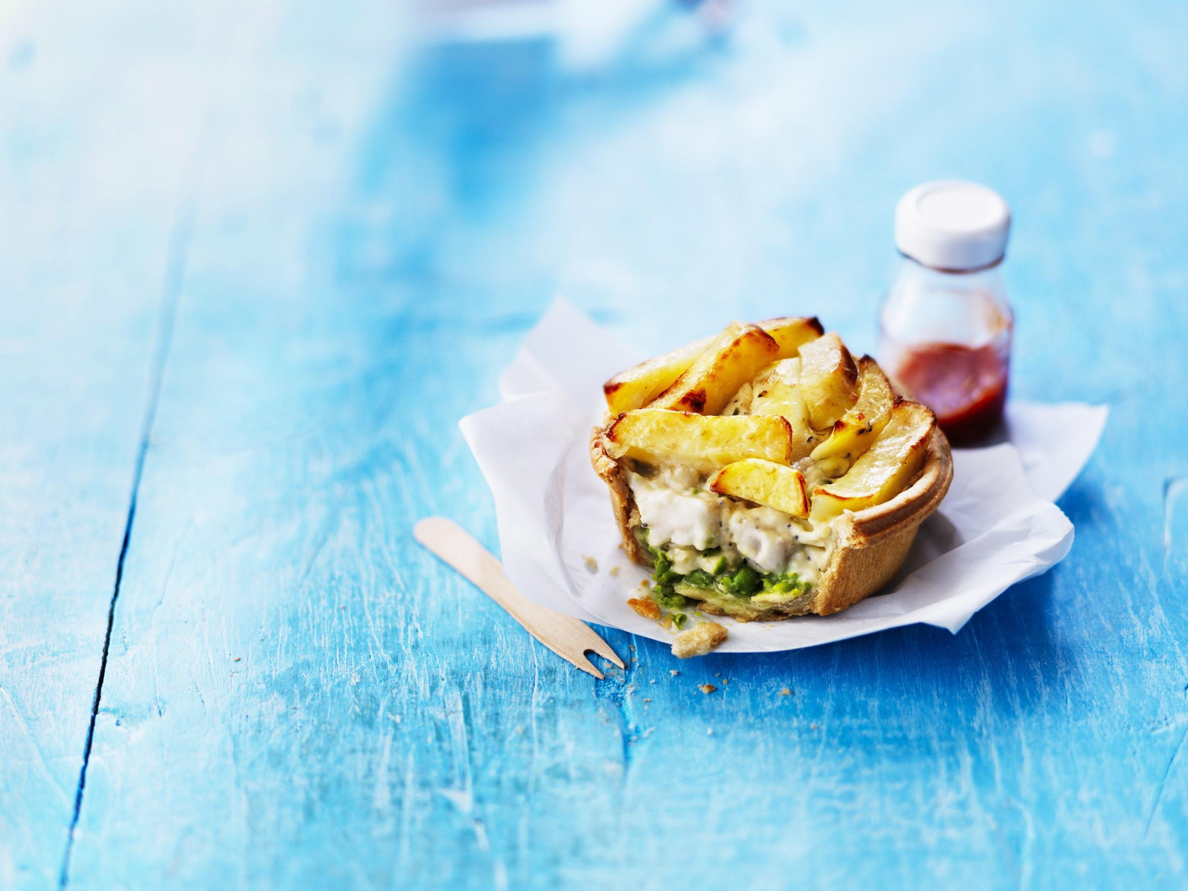 The fish and chip pie, which has chips instead of a pastry lid