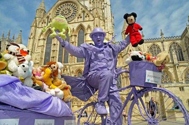 York street artist Purpleman who plans to take 1,000 soft toys to children in Syria