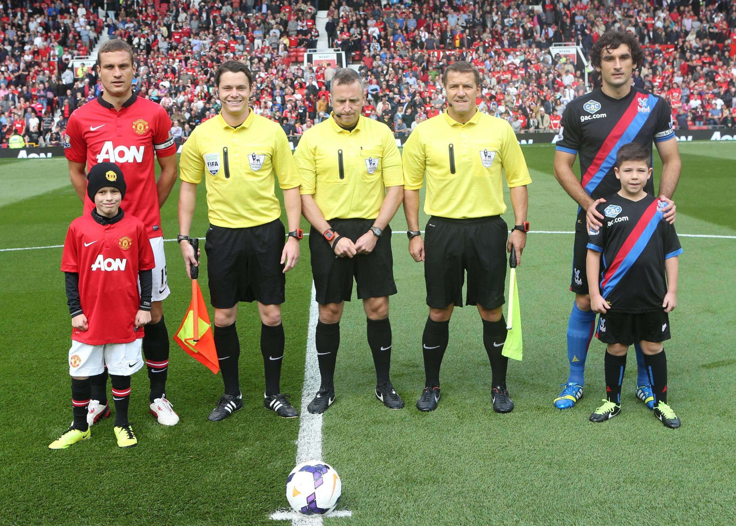 Oscar Hughes was a mascot at the Barclays Premier League match between Manchester United and Crystal Palace at Old Trafford last September.