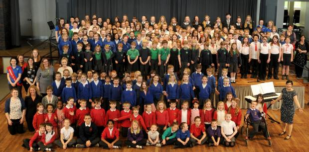 Some of pupils and teachers  taking part in the York Schools Choral Festival  2014 at the central Hall, University of York