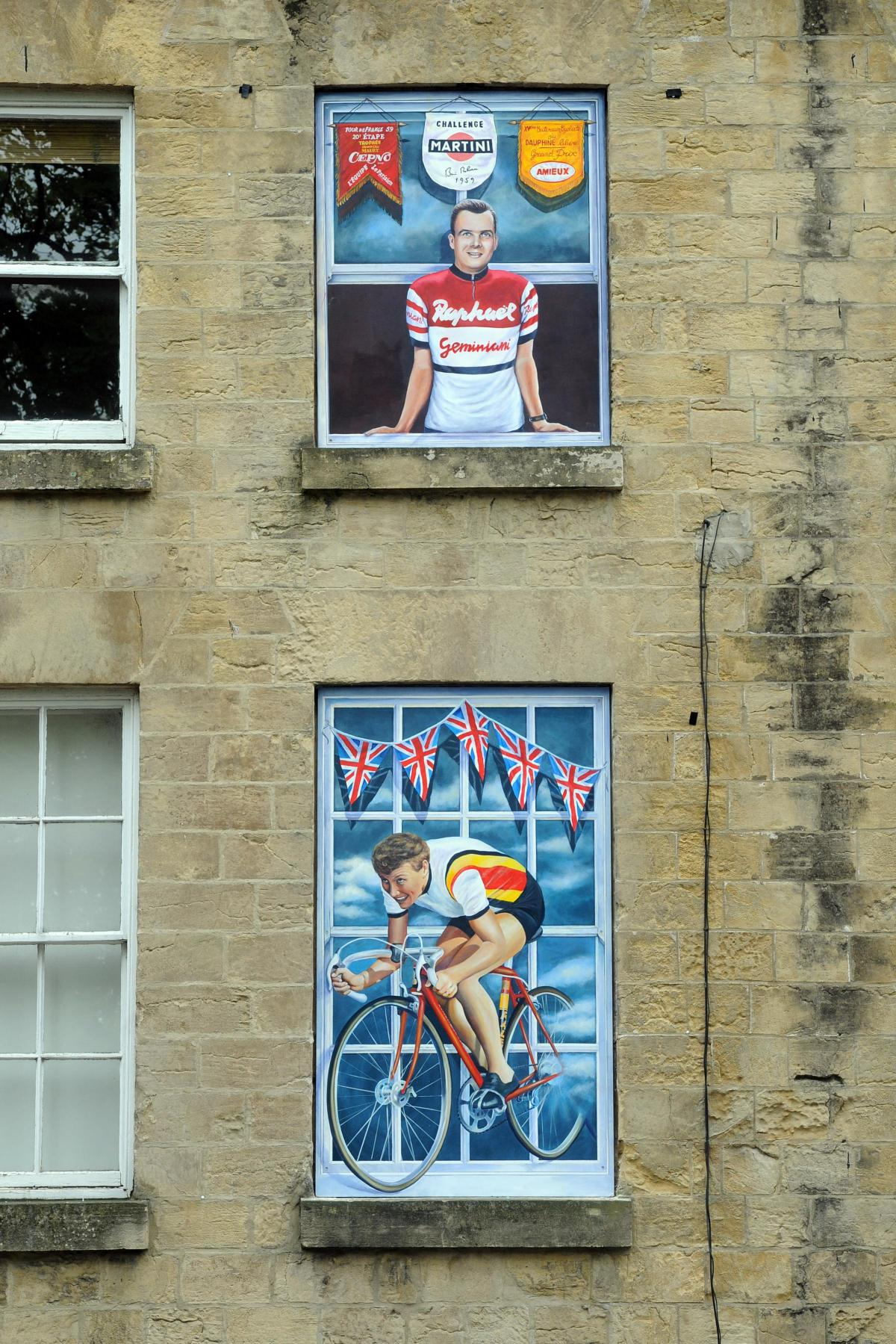 Window Murals Unveiled In Knaresborough To Mark Tour De France