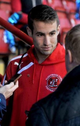 Fleetwood's former York City star Matty Blair talks to the media after the Bootham Crescent postponement