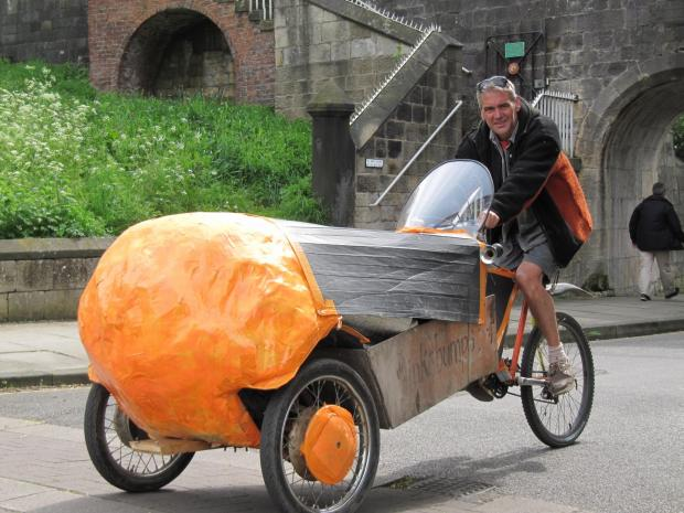 THREE-WHEELING: Simon Rigby and his tricycle on the last leg of his  250-mile journey