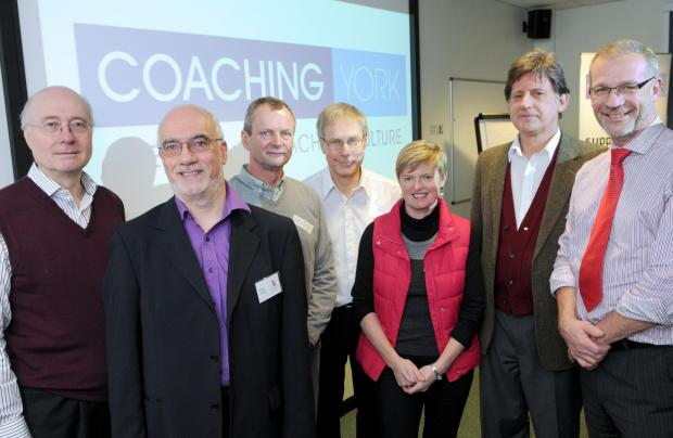 Members of the Coaching York steering group (from left) Bob Garvey, Steve Gorton, Hugo Welsh, Steve Flinders, Sue Holden, Peter Lumley and David Collins. Pic: Mike Tipping (6102624)