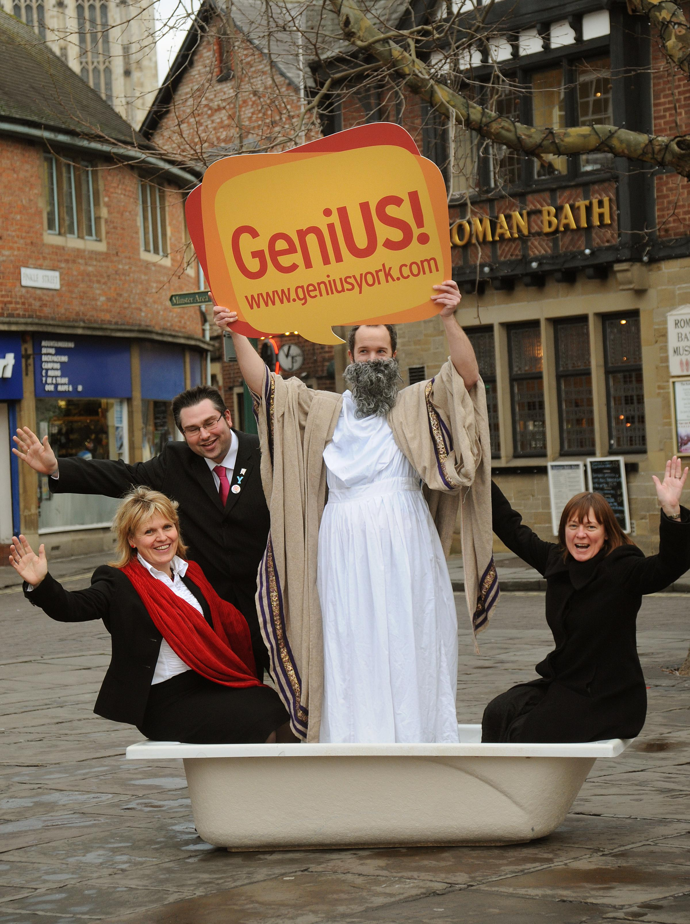 The launch in 2012 of the GeniUS community inovation scheme in St Sampsons Square by Kersten England, left, James Alexander, CYC Sustainability Officer Noel Collings as Archimedes and Susan McColl from Science City York.