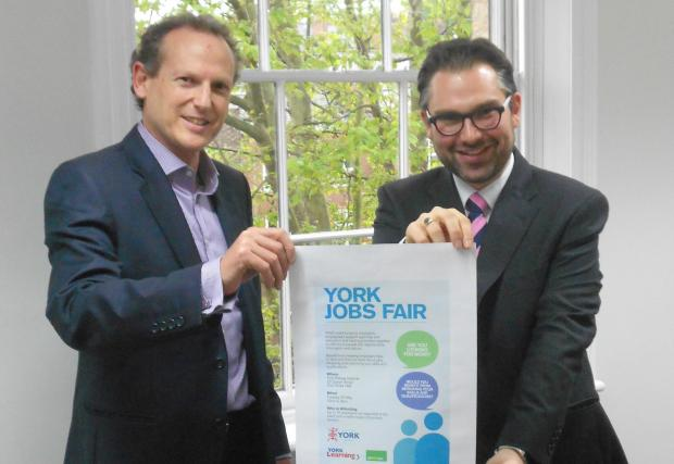 Alan Millard, chief operating officer of Hiscox, and Cllr James Alexander promote the fair