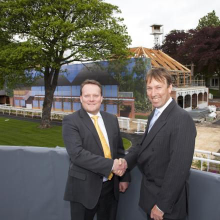 Left to right, Tim Cross, partner and head of commercial property at Langleys, and William Derby, Chief Executive and Clerk of the Course at York Racecourse in front of the Northern End Development.York Digital Image Studio Photography