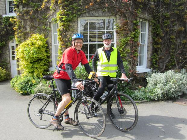 Retired Pocklington School teachers Rob Peel, left, and Iain McDougall  set off on their 500-mile charity bike ride yesterday