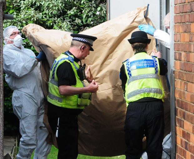 York Press: Police forensic officers at work today at the house in Burnholme Grove.