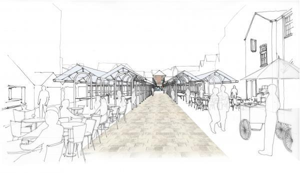An artist's impression of the market, looking north from near the foot of Shambles. Pic by Bauman Lyons.