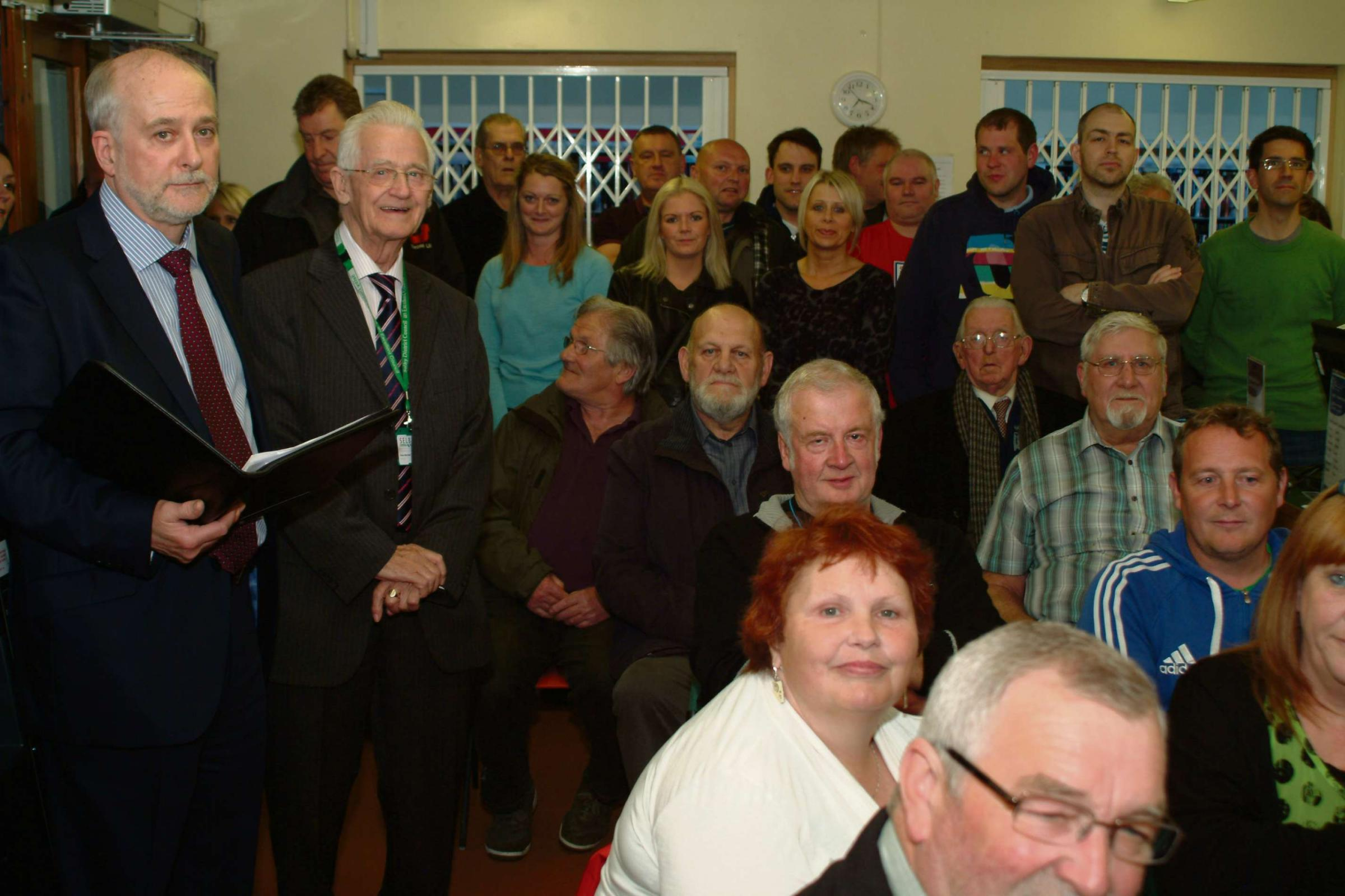 MEETING POINT: Residents in Barlby at a protest meeting about new developments in the village. Picture: Eric Foster