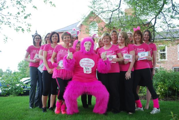 Staff from DE Ford Insurance who will be taking part in the Race For Life at York Racecourse in June