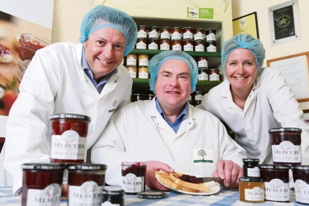Paul Mercer,  Andrew Nicholson and Lizzie Mercer at York Speciality Foods' manufacturing facility