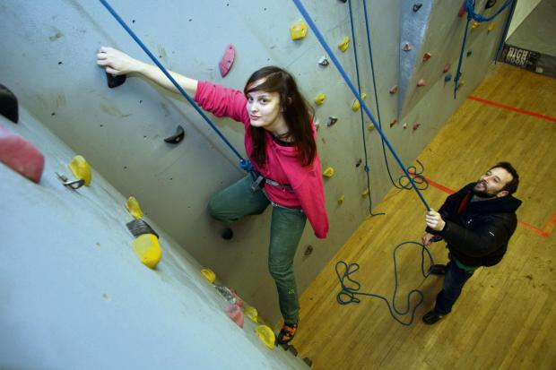 Sianagh Gallagher trains at Askham Bryan College as part of her bid for a place in the Team GB paraclimbing squad, with coach and lecturer Drew Haigh. Picture: Kippa Matthews