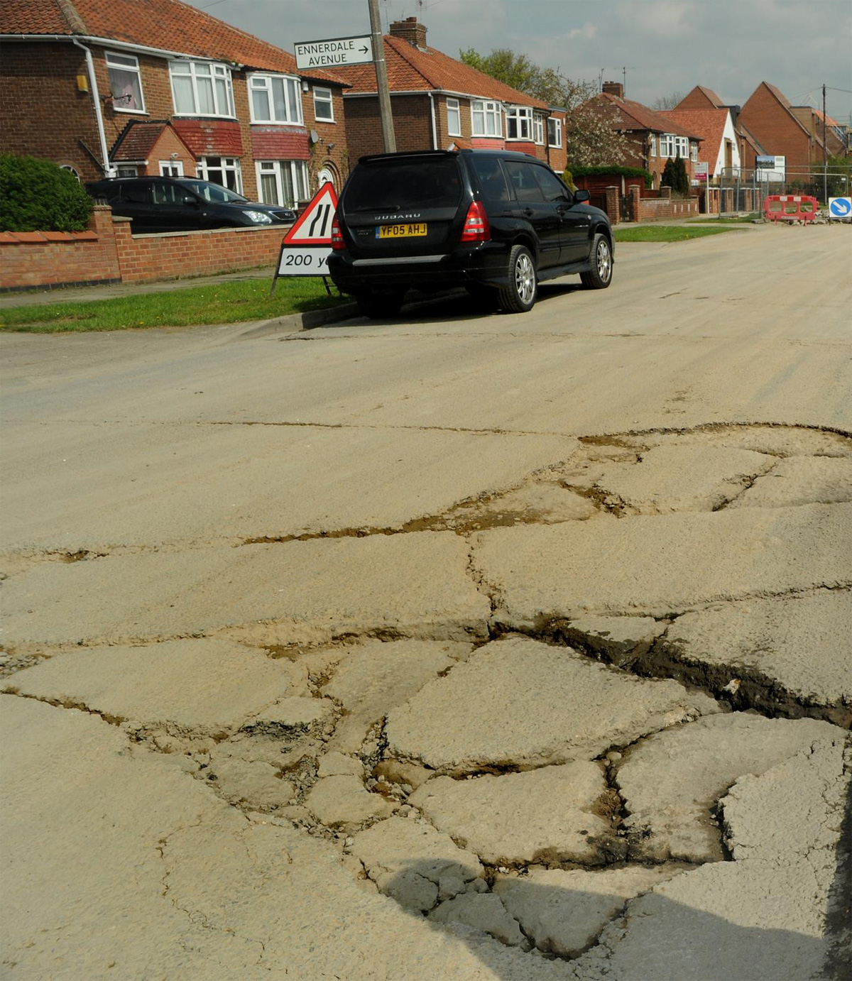 Roads damaged due to lorries going to and from the Derwenthorpe site