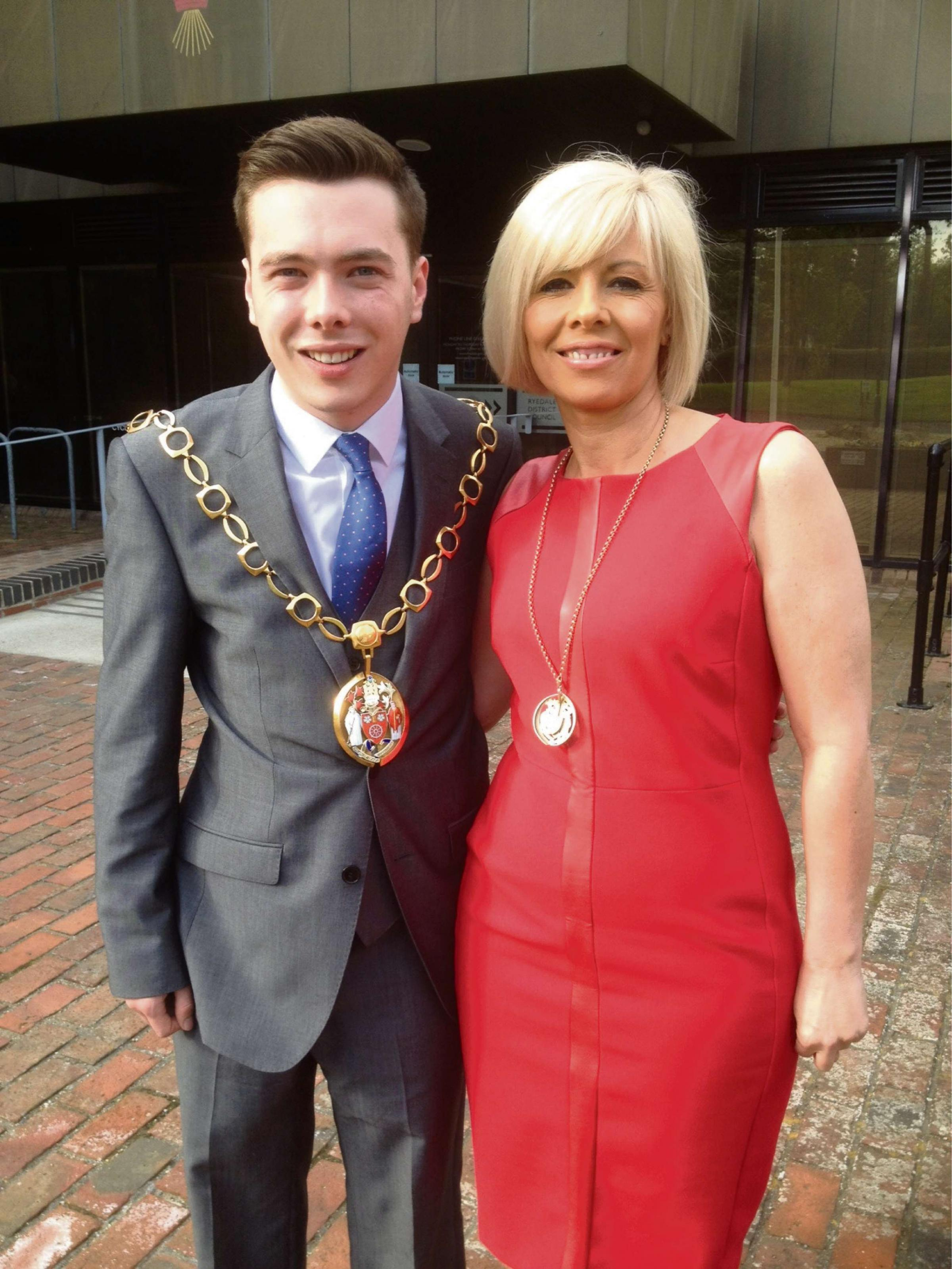Cllr Luke Ives, 22, with his mum, Louise, who is his consort