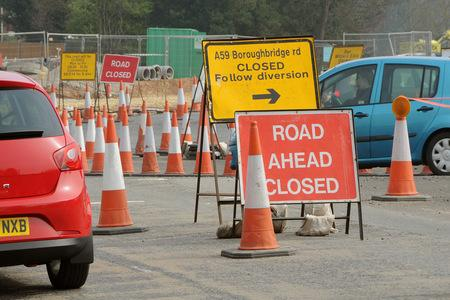COSTING TRADE: The Poppleton Road roundabout road works, on the A59, which traders say are affecting their trade
