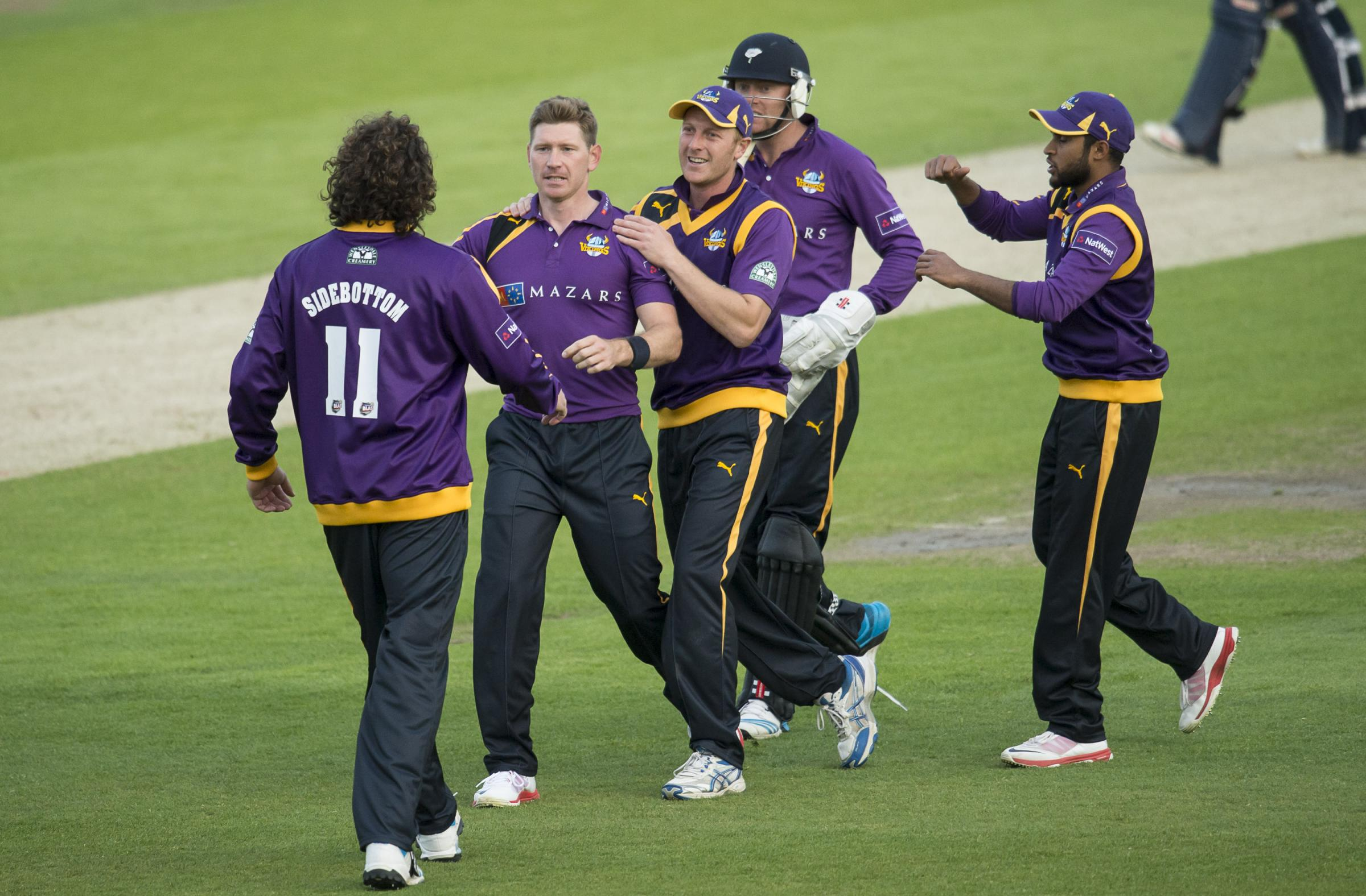 Yorkshire Vikings' Rich Pyrah celebrates a wicket during the NatWest T20 Blast defeat by Northamptonshire