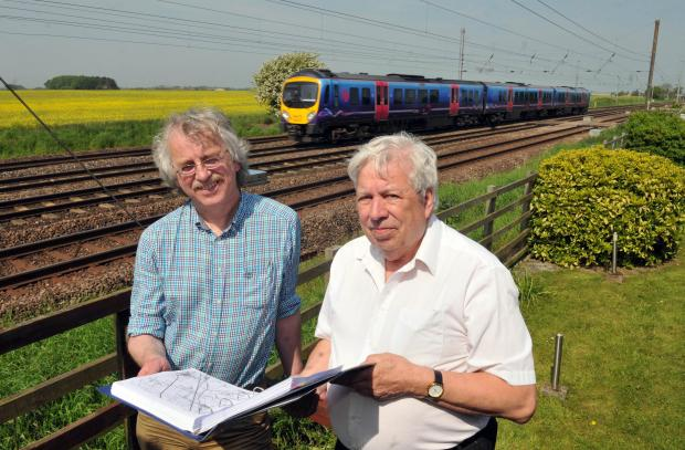 Colin Elliff (left) and Quentin Macdonald with their alternative HS2 rail plan at Shipton.