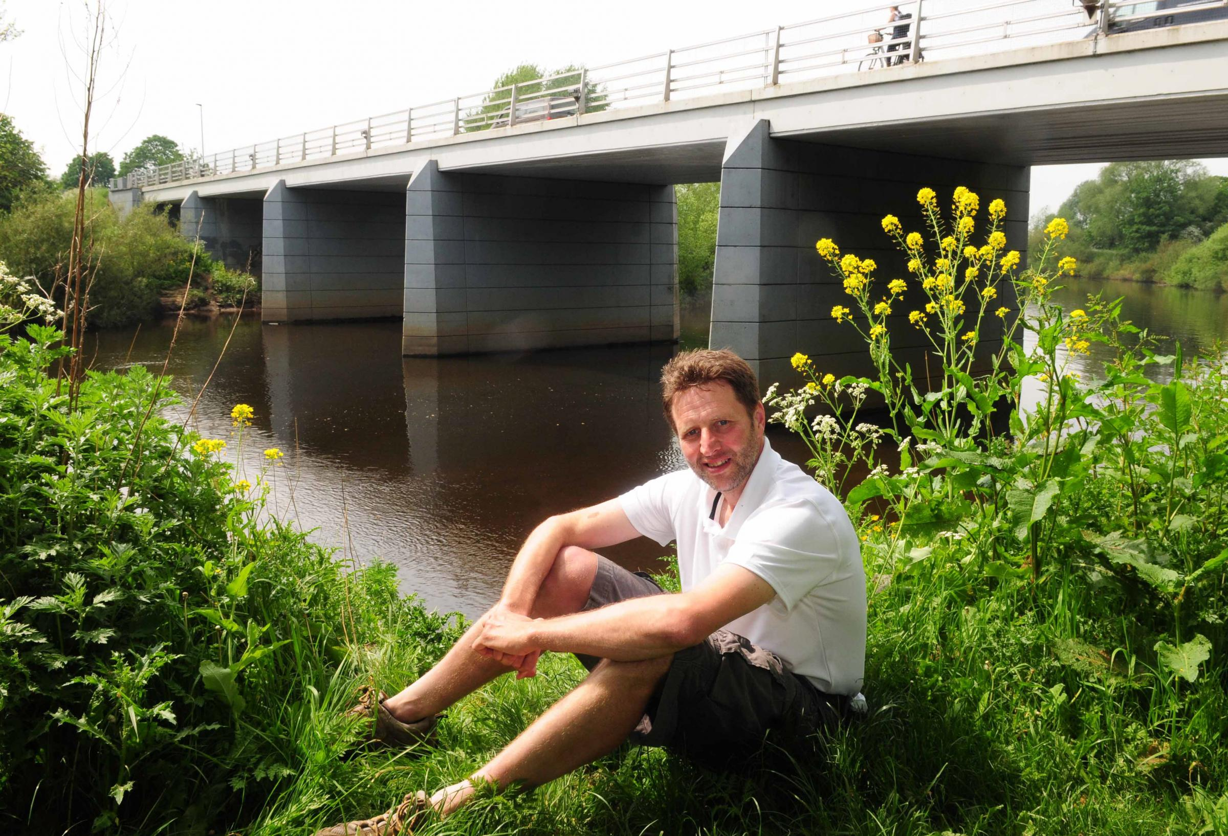 Craig Marsden by the river Ouse at Clifton Ings Bridge.