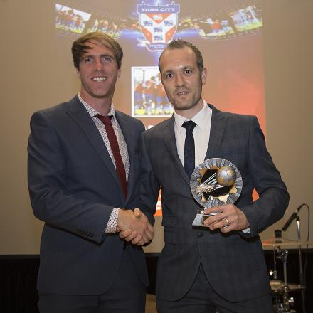 York City reporter Dave Flett presents The Press player of the year award to Keith Lowe