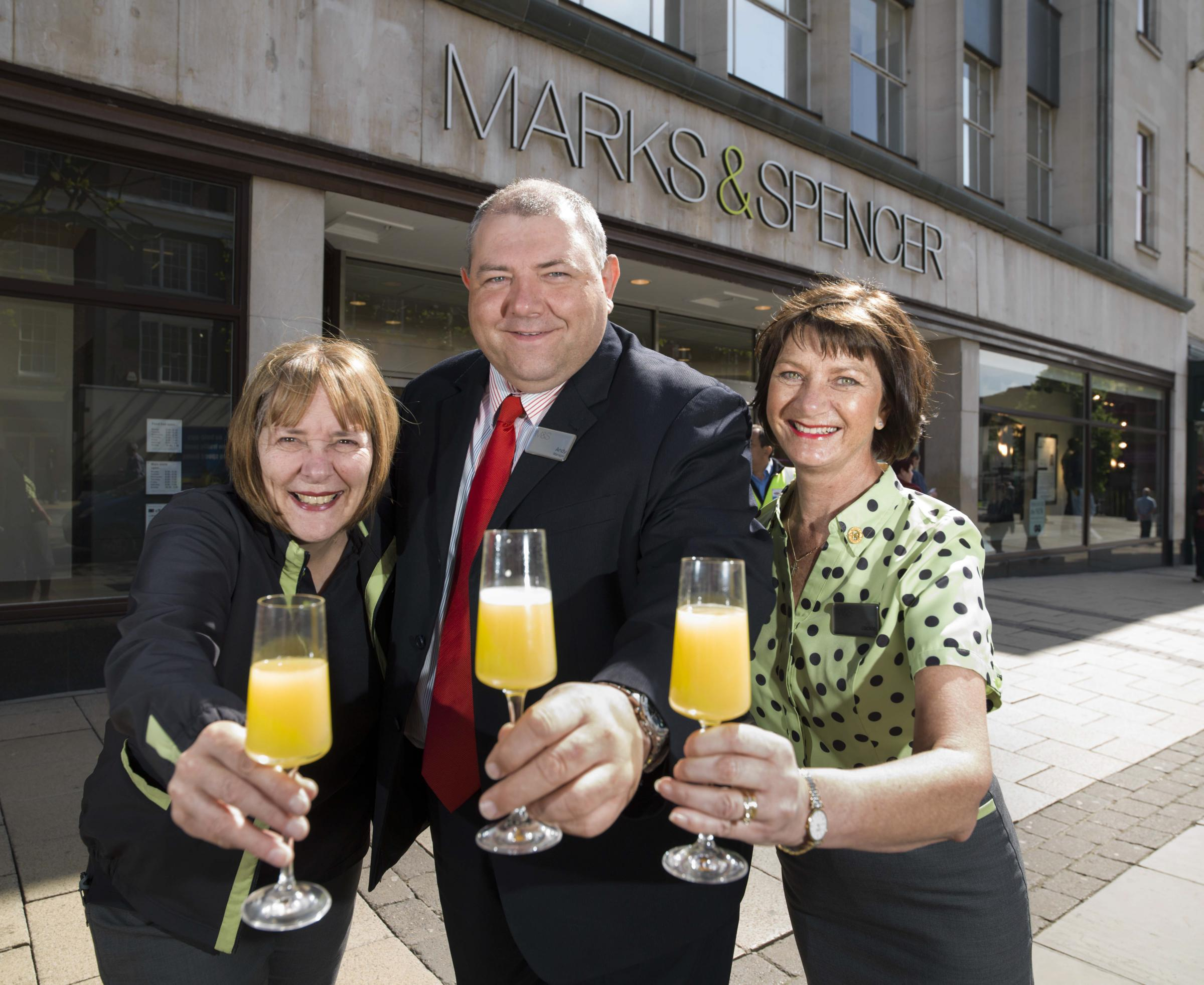 Store manager Andy Crum with Jackie Cammidge and Lesley Whittaker, left