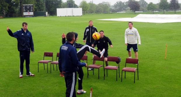 York Cricket Club's players improvise after their Solly Sports Yorkshire ECB County Premier League clash with Driffield Town at Clifton Park was called off without a ball being bowled on Saturday
