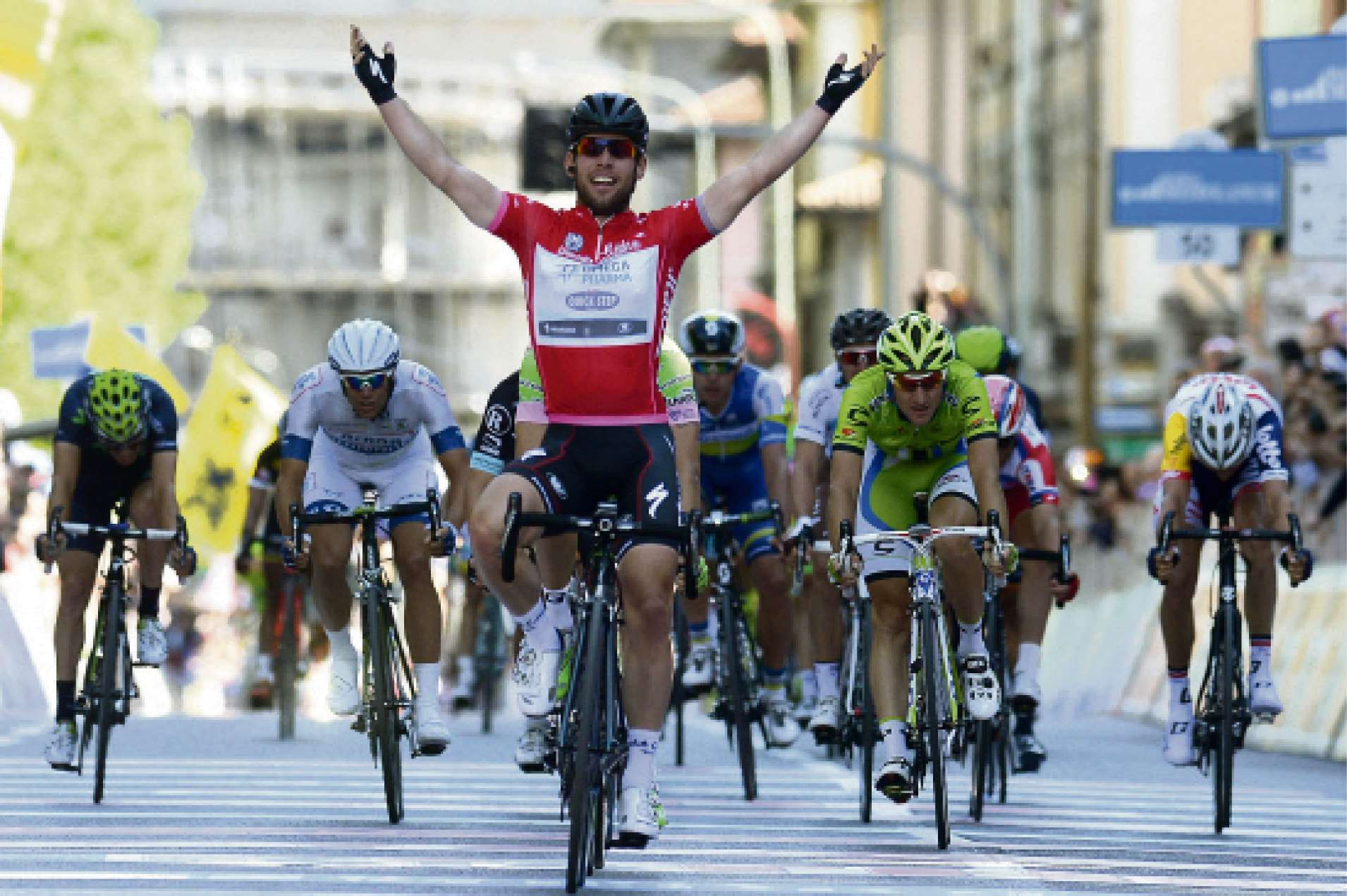 Tour star: Mark Cavendish celebrates as he crosses the finish line to win the final stage of the Giro d'Italia, Tour of Italy cycling race last year.