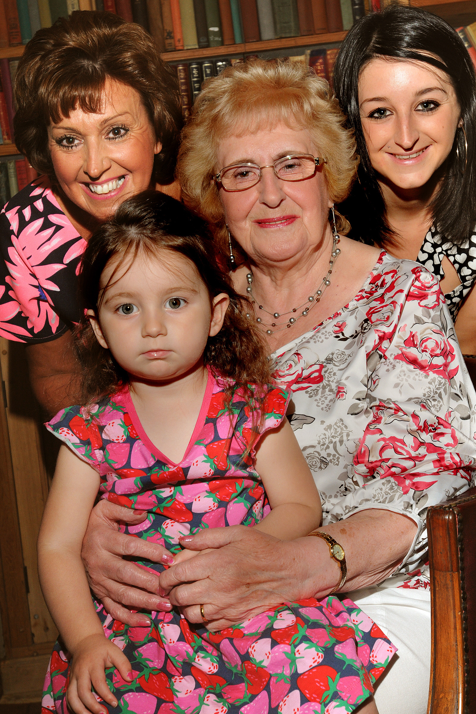 Evelyn Maw celebrated her 80th birthday at the Pavillion Hotel in Fulford with daughter Karen Franks, 49, left, grandaughter Amy Franks, 24, and great-grandaughter Megan, two
