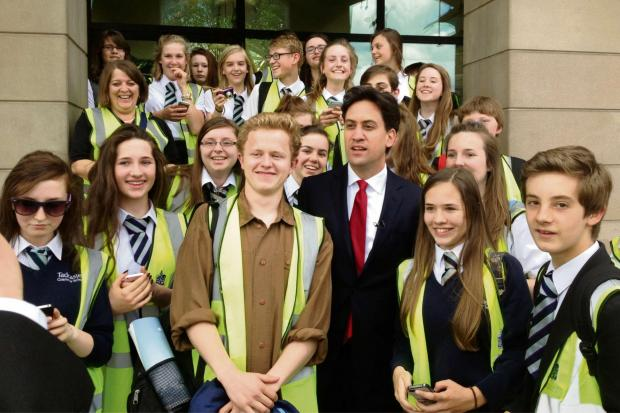 Students from Tadcaster Grammar School are pictured with Leader of the Labour Party, Ed Miliband, who they met unexpectedly on a visit to the Houses of Parliament
