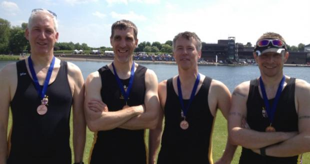 The York City RC Masters C coxless four of Dave Turley, Ian Edmondson, Mick Homa and Pat Evans - winners of the bronze medal at the British Masters Championships in Nottingham