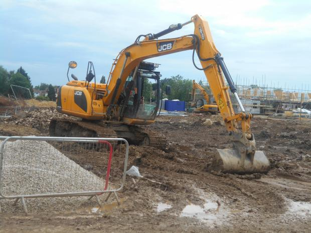 A digger, pictured on the Derwenthorpe site on Monday afternoon, according to Cllt Warters