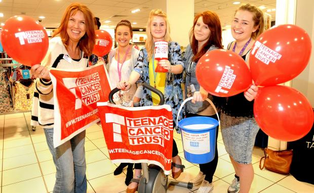 York Press: At the Teenage Cancer Trust's Spinathon in the New Look shop in Parliament Street were (from left) Heather