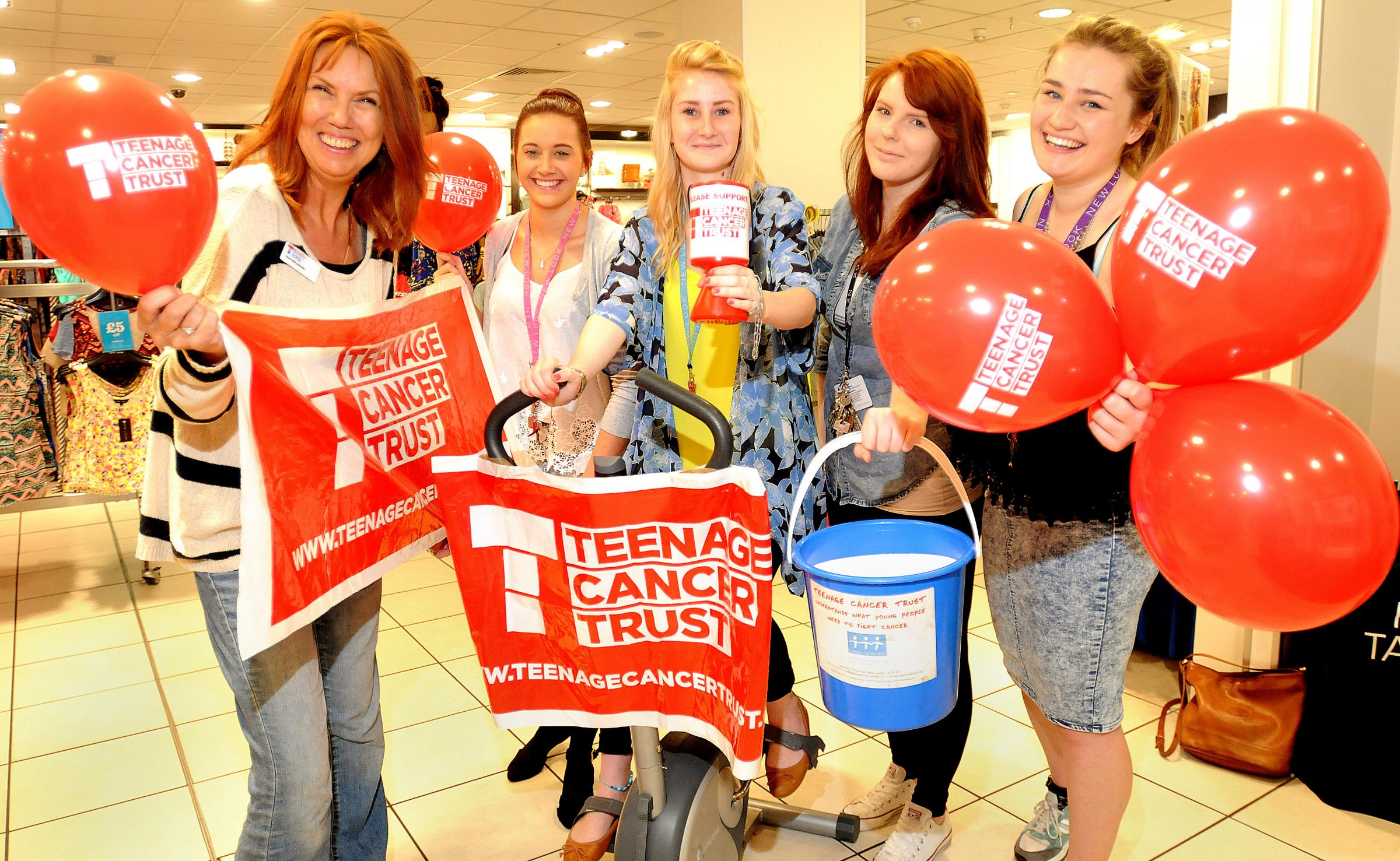 At the Teenage Cancer Trust's Spinathon in the New Look shop in Parliament Street were (from left) Heather Bowen, Regional Manager for the Teenage Cancer Trust Yorkshire with New Look staff Charlotte Craven, Rosie Tanner, Jess Holmes and Marcy Burke.