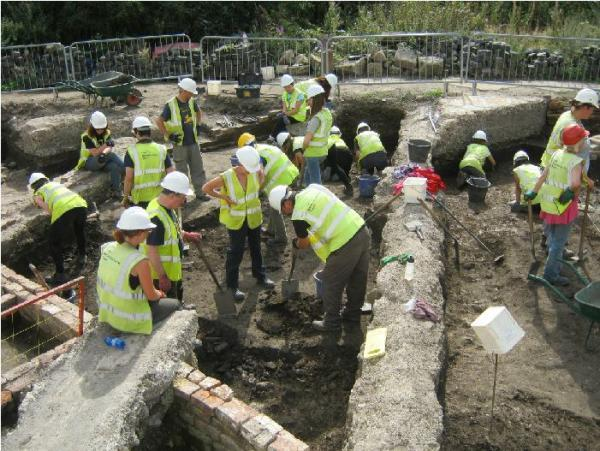 Work on the Hungate site, during the dig