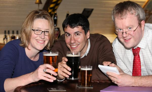 Lucy Buykx, Dr Ignazio Cabras and Gavin Aitchison prepare for the York Beer Census