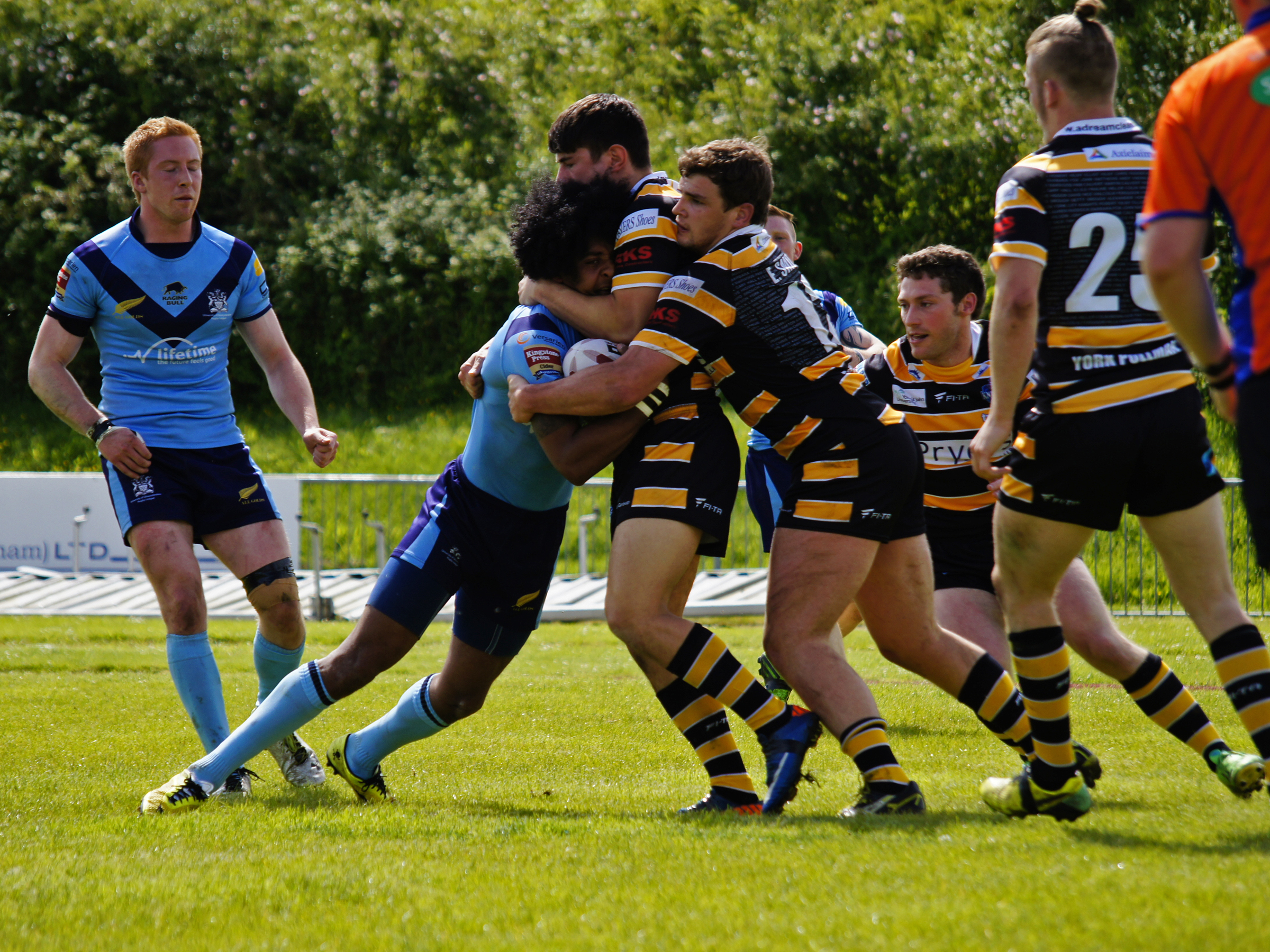 York City Knights tacklers repel a Gloucestershire All Golds attackPicture: Lewis Mitchell