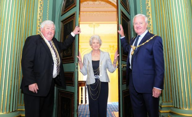 The Lord Mayor of York, Cllr Ian Gillies, Lady Mayoress, Pat Gillies, and the Sheriff of York, John Henry  welcome visitors to the Mansion House