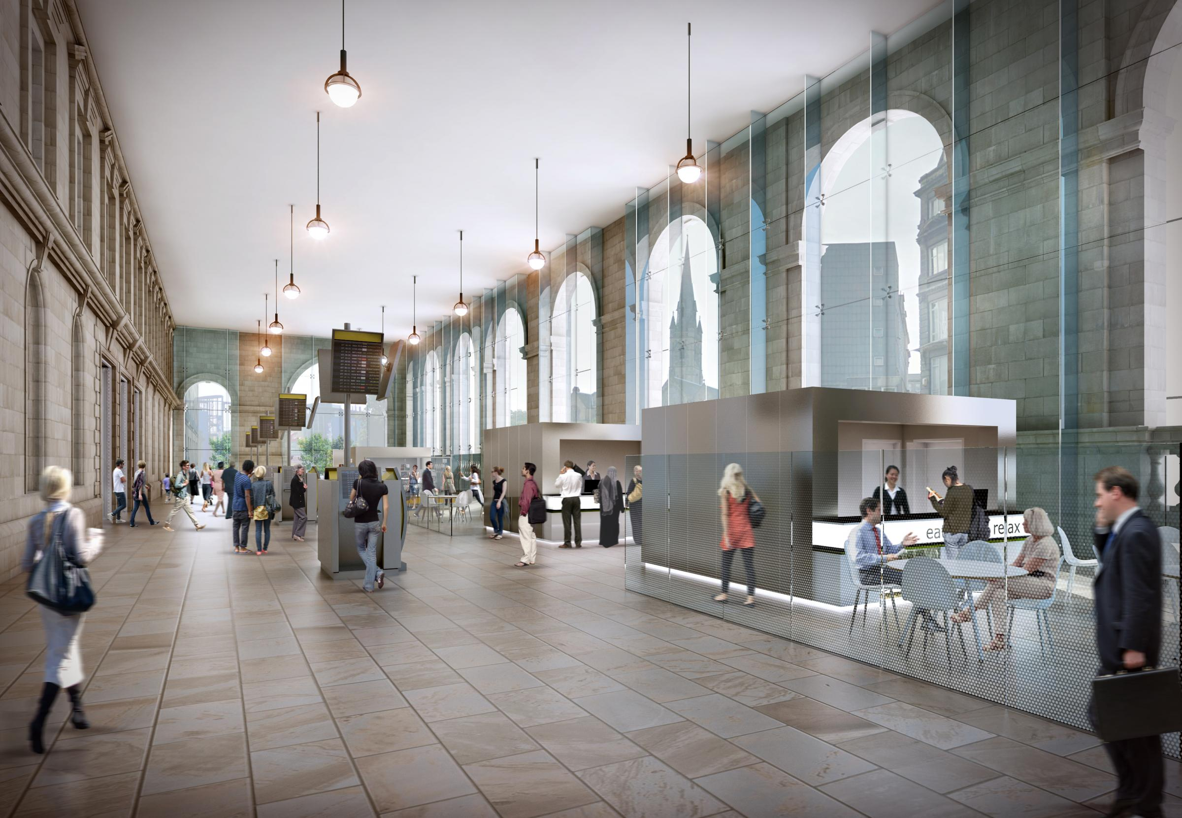 An artist's impression of Newcastle Central station's portico following the £8.6 million redevelopment