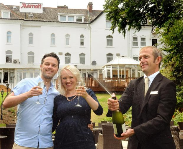 York Press: Lauren Beevers and David McRae celebrate at the Marriott hotel ahead of their big day next
