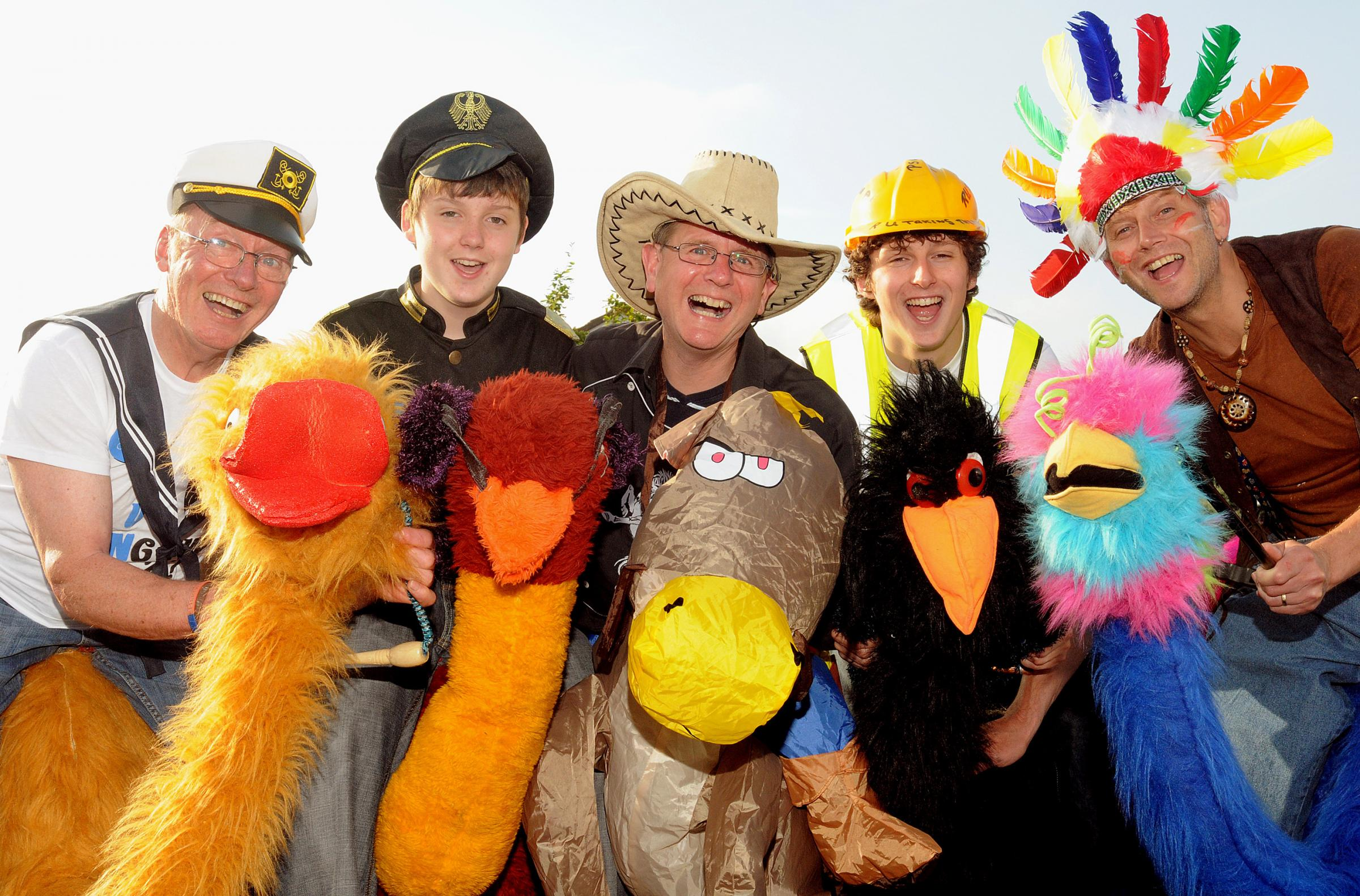 Dave Cordukes, Edward Appleby, David Clarke, Jacob Appleby and David Appleby will run the R U Taking The P? event dressed as 'YMCA' characters on ostriches
