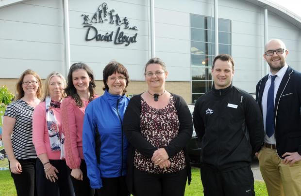 The Press' participants in the fitness challenge; from left, Nadia Jefferson-Brown, Sue Mayman, Laura Knowlson, Megi Rychlikova and Nicola Haigh, with personal trainer Tim Purdy and corporate manager Matt Thompson at the David Lloyd centre in York
