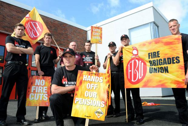 York firefighters take industrial action as part of a dispute over pensions and a later retirement age