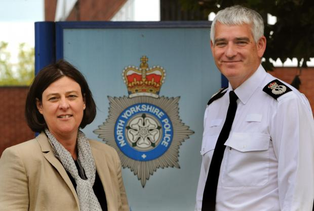 North Yorkshire Police and Crime Commissioner Julia Mulligan and Chief Constable Dave Jones before the press conference on the new Operational Policing Model at Fulford Police Station