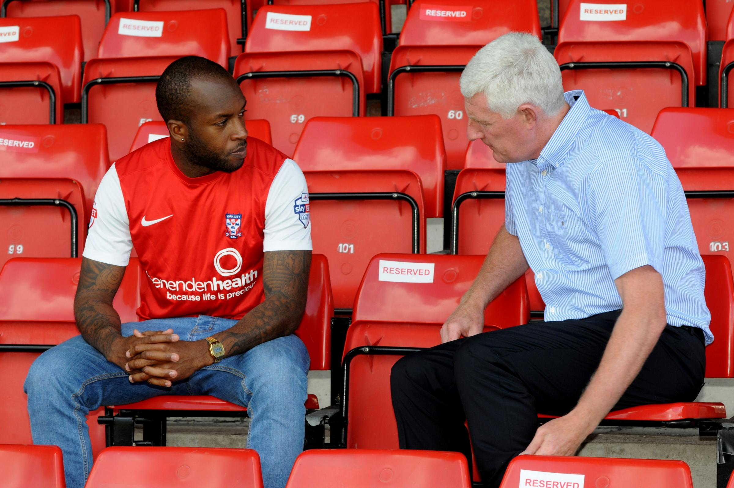 New signing Anthony Straker with York City boss Nigel Worthington