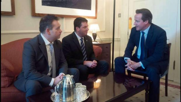 Nigel Adams MP (left) and Andrew Percy MP at 10 Downing Street with the Prime Minister David Cameron