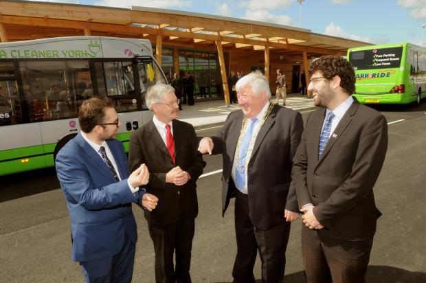 From left, City of York Council leader CllrJames Alexander with Coun Dave Merrett, Lord Mayor Coun Ian Gillies and Coun David Levene at Poppleton Bar Park&Ride