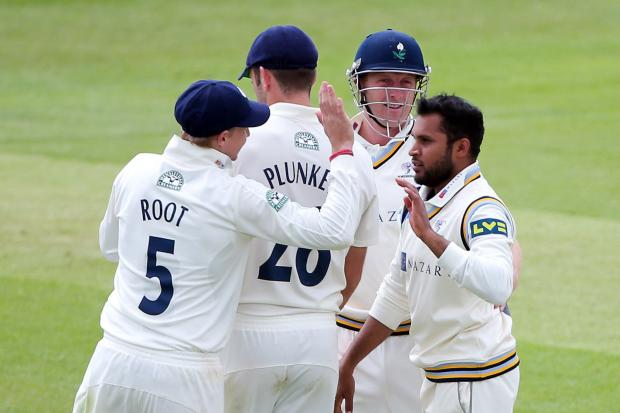 Yorkshire's Adil Rashid with England players Joe Root and Liam Plunkett, plus captain Andrew Gale